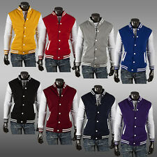 Men Plain Varsity Baseball Jacket Coat College Casual Sweater Sports Tops Hot
