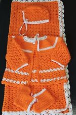 NEW VINTAGE, HANDMADE/CROCHETED, ADORABLE BABY BLANKET & OUTFIT SETS, 0-6 MONTHS