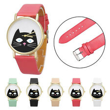 Lovely Cat Women Watch Men Analog Watch Slim Leather Quartz Dial Wrist Watch Hot