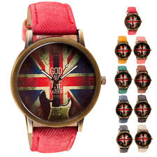 Mens Womens Watch British Fag Pattern Analog Quartz Vogue Wrist Watches Popular