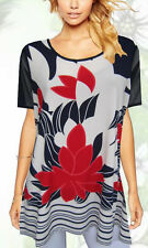 Tunic Top White Black Red Floral Plus Size 14 16 18 20 22 24 SUN ROSE