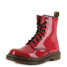 Womens Dr Martens 1460 Red Patent Lamper Leather Casual Ankle Boots Uk Size