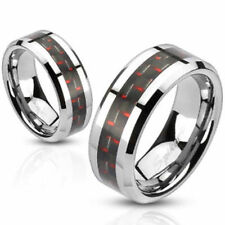 """Men's Women's Ring Stainless Steel Silver """" Carbon Inlay Red """" Jewelry"""