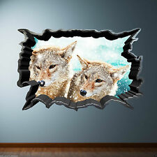 Full Colour CRACKED wall WILD FOX wall art sticker decal transfer Graphic Print