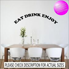 EAT DRINK ENJOY KITCHEN WALL QUOTE STICKER MURAL DECAL TRANSFER STENCIL GRAPHIC