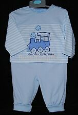 """Baby Boys """"Little Train"""" Blue Two Piece Outfit/Set 0-9 Mth *One Supplied*"""