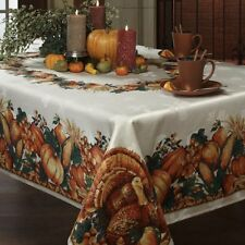 Harvest Tablecloth Fall Thanksgiving Day Printed Fabric Pumpkin Turkey 2 Size