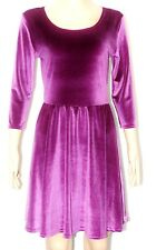 SEXY WOMEN LADIES VELVET SKATER 3/4 SLEEVE PARTY DRESS TOP SIZE 8-10,12-14