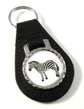 Zebra Feeding Leather Key-fob/Metal Keyring