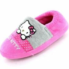 HELLO KITTY GIRLS GREY/PINK SYNTHETIC SLIP ON HOUSE SLIPPERS- CC