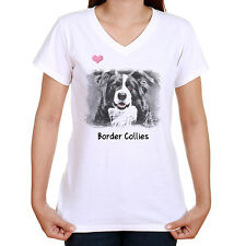 BORDER COLLIE IMAGE T SHIRT STANDARD OR LADYFIT OUR TEXT OR CHOOSE YOUR OWN
