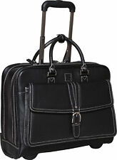 "Clark and Mayfield Stafford Rolling Leather 17"" Laptop Briefcase"