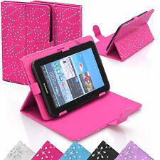 Universal Bling Leather Diamond Stand Case Cover Pouch For  7 Inch Tablets Tab