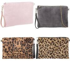 SHU HEAVEN LADIES WRIST HANDLE ENVELOPE PARTY PROM FUR FASHION WOMENS CLUTCH BAG