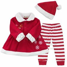 Christmas Santa Claus Baby Girls Fancy Dress Up Party 3Pcs Outfits Set Clothing