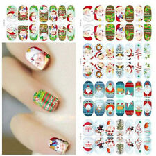 Fluorescent Glow Full Wraps Christmas Santa Nail Art Stickers Foils Tips Decal