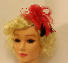 Vintage 40s 50s Hat Red Teardrop Hat Feather fascinator Ascot Christmas Cocktail