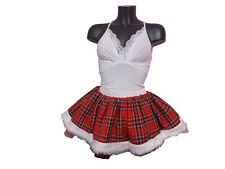 Red Tartan Tutu Skirt 80S Fancy Dress Costume White Faux Fur Christmas New Year