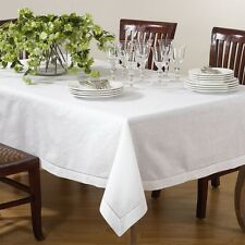 Handmade Hemstitch Linen Blend Square Tablecloth in White or Beige, 2 Sizes
