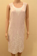 Next Tailored Tall  Pink White Embroidered Silver Sequin Shift Dress  UK 8 18