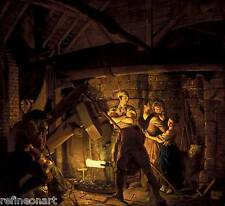 Joseph Wright of Derby  An Iron Forge Giclee Canvas Print