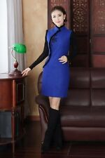 New Women's Autumn Winter Woolen Mini Dress Cheongsam Skirt Blue Red