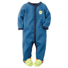 Carters Blue Striped One Piece Footed Monster Sleep Play New Born Preemie NWT