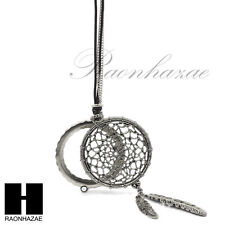 "New 5X Magnifying Glass American Dream Catcher Feather Pendant 31"" Necklace 29M"