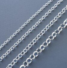3ft silver plated Findings Rolo Link opened Cable Chains 3-8 mm Jewelry making