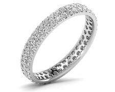 1.10 Carat Double Row Round Diamonds Full Wedding Eternity Ring in 18K Gold
