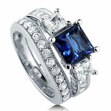 Sterling Silver Princess Simulated Blue Sapphire Cubic Zirconia CZ 3 Stone Ring