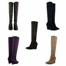 LADIES WOMENS KNEE HIGH LENGTH WEDGE HEEL BOOTS FAUX SUEDE ZIP UP SHOES SIZE