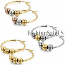 Womens Fashion Stainless Steel Big Round Circle Beads Dangle Hoop Party Earrings