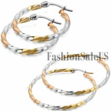 Women Silver Gold Tone Twisted Stainless Steel Round Circle Dangle Hoop Earrings