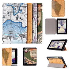 For Amazon Kindle Fire 7 2015 Folio Leather Protector Case Cover Stand World Map