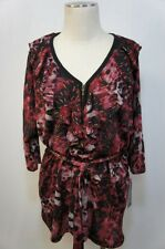 Elementz Woman Red Blend/Black W/ Gold accent Belted Ruffled Blouse Sz 2X