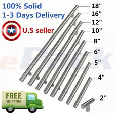 """100% Solid 2"""" to 18"""" Stainless Steel Kitchen Cabinet Handles T Pull bar hardware"""