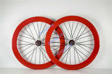 carbon fiber bicycle wheels 50/ 60mm  road bike wheelset 700c orange clincher