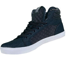 Mens Crosshatch New Denim Navy Hi Top Quilted Ankle Footwear Trainer Shoes