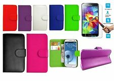 NEW Flip Wallet Leather Book Case Cover & Tempered Glass FOR Samsung Galaxy DEAL