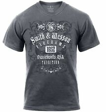 "Gray Smith & Wesson ""Firearms Tradition, Massachusetts USA"" T-Shirt Tee Shirt"
