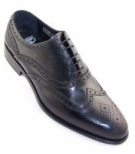 Calzoleria Toscana Men's Oxford Black Leather Wing Tip HandCraft Dress Shoe 1972