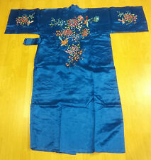 Hand Embroidered Silk Kimono Robe with inner lining