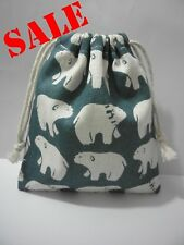 Cotton Linen Drawstring Small Bag Storage Travel Packaging Pouch Purse-Bear