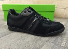 HUGO BOSS Mens Shoes Sneakers Trainers AKEEN Black Leather BOSS Green New In Box