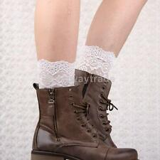 Pair Women Girls Stretch Leg Warmers Lace Trim Boot Cuffs Toppers Winter Socks