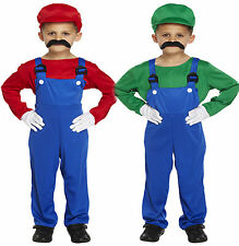 Boys Childrens Super Mario Plumber Red Dungarees Costume Hat Overalls Shirt Set