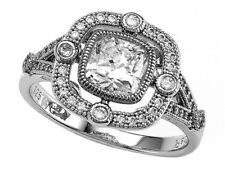 Zoe R Micro Pave Hand Set Cushion Cubic Zirconia (CZ) Engagement Ring