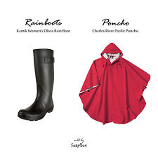 Womens Kamik Medium Size US 7 Olivia Rubber Rain Boot and Charles River Poncho