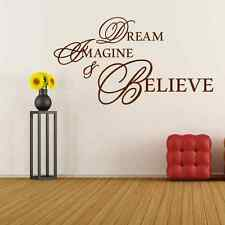 Dream Imagine And Believe Quote Vinyl Wall Decal Sticker Art